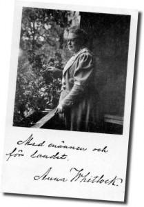 Med männen och för landet. Vykort för rösträtt signerat av Anna Whitlock.